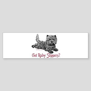 Cairn Terrier Ruby Slippers Bumper Sticker