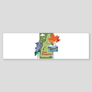 New Hampshire Map Bumper Sticker