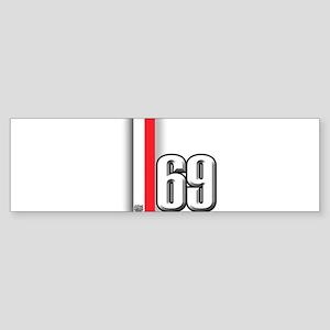 69 Red Whirte Sticker (Bumper)