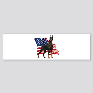 American Flag Doberman Sticker (Bumper)