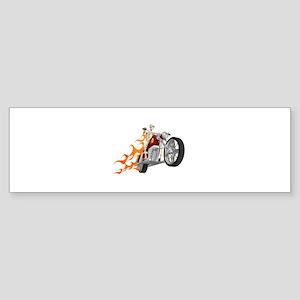 Skeleton Biker with Flames Bumper Sticker