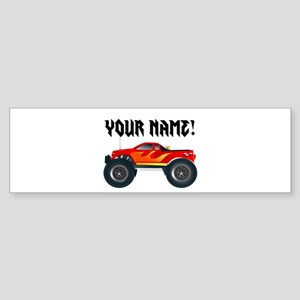 Red Monster Truck Personalized Bumper Sticker