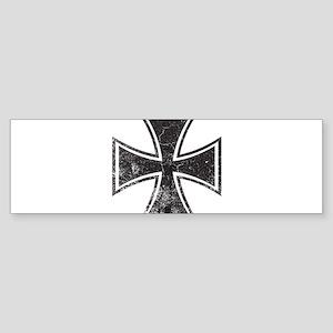 Biker Cross - Distressed Sticker (Bumper)