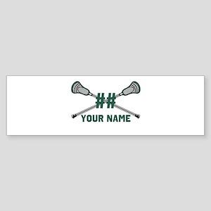 Personalized Crossed Lacrosse Sticks Green Sticker