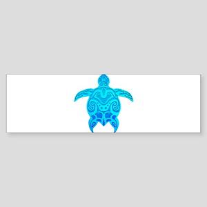 Blue Tribal Turtle Bumper Sticker
