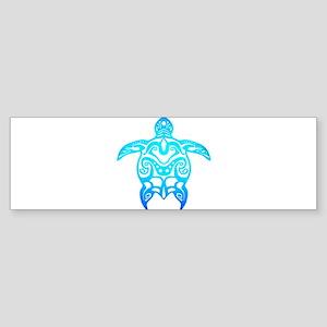 Ocean Blue Tribal Turtle Bumper Sticker