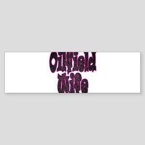 Pink Oilfield Wife Damask Bumper Sticker