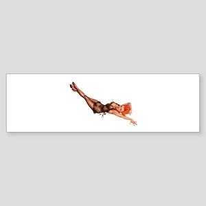Red Head Black Lingerie Pin Up Girl Bumper Sticker