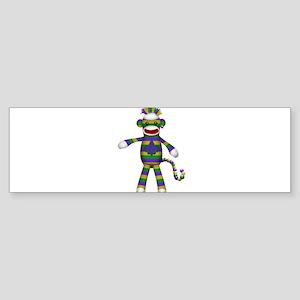 Mardi Gras Sock Monkey Bumper Sticker