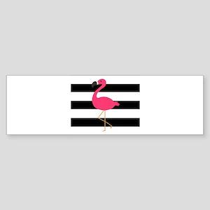 Pink Flamingo on Black and White Bumper Sticker