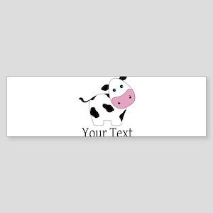 Personalizable Black and White Cow Bumper Sticker
