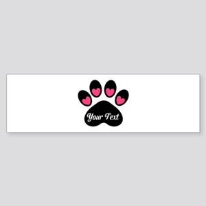 Personalizable Paw Print Pink Bumper Sticker