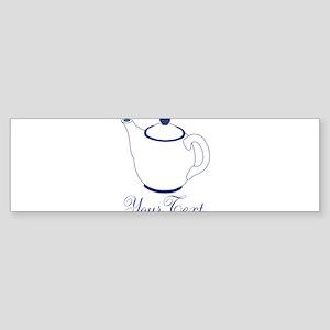Personalizable Blue Tea Pot Bumper Sticker