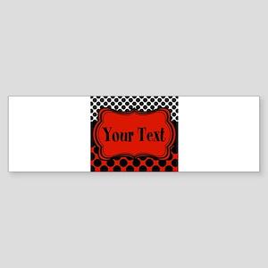 Red Black Polka Dot Personalizable Bumper Sticker