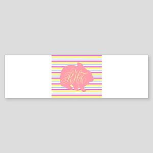 Personalizable Monogram Bunny Bumper Sticker