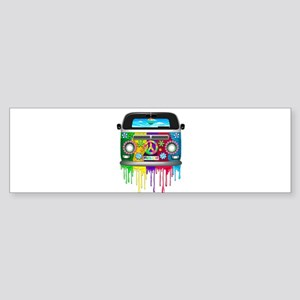 Hippie Van Dripping Rainbow Paint Bumper Sticker