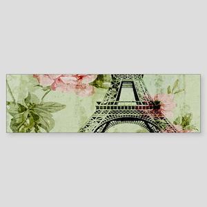 floral vintage paris eiffel tower Bumper Sticker