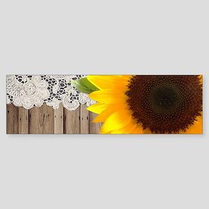 rustic barn yellow sunflower Bumper Sticker