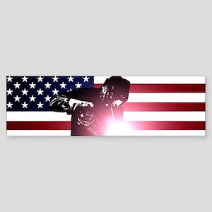 Welding: Welder & American Flag Bumper Sticker