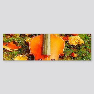 romantic fall leaves violin Bumper Sticker