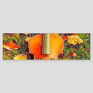 romantic fall leaves violin Bumper Sticker