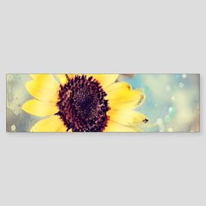 romantic summer watercolor sunflowe Bumper Sticker