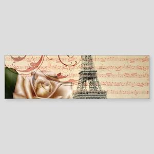 girly rose eiffel tower paris Bumper Sticker