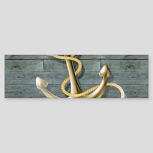 ocean blue wood anchor Bumper Sticker