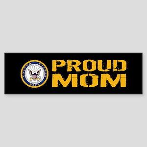 U.S. Navy: Proud Mom (Black) Sticker (Bumper)