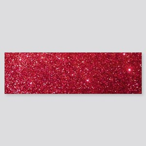Girly Chic Red Glitter Bumper Sticker