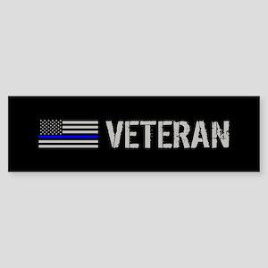 Police: Veteran (Thin Blue Line) Sticker (Bumper)