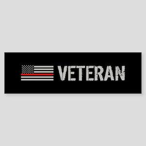 Firefighter: Veteran (Thin Red Li Sticker (Bumper)