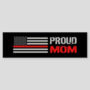 Firefighter: Proud Mom (Black) Sticker (Bumper)