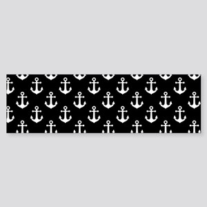 White Anchors Black Background Pa Sticker (Bumper)