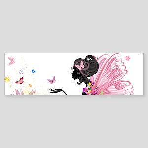 Whimsical Pink Flower Fairy Girl Bu Bumper Sticker