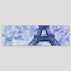 purple floral paris eiffel tower art Bumper Sticke