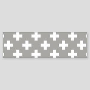 Grey Plus Sign Pattern Bumper Sticker