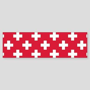 Red Plus Sign Pattern Sticker (Bumper)