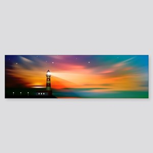 Sunrise Over The Sea And Lighthouse Bumper Sticker
