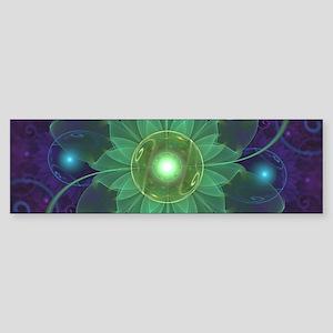 Glowing Blue-Green Fractal Lotus Li Bumper Sticker
