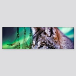 native dream catcher wolf northern Bumper Sticker