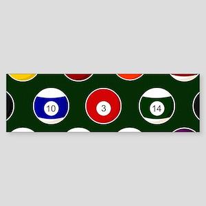 Green Pool Ball Billiards Pattern Bumper Sticker