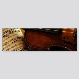 Violin On Music Sheet Bumper Sticker