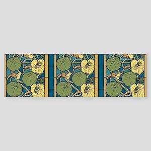 Blue and Yellow Floral Nouveau Bumper Sticker