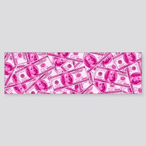 Pink Hundred Dollar Bill Pattern Bumper Sticker