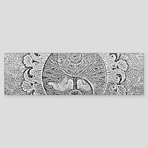 Shiny Metallic Tree of Life Yin Yan Bumper Sticker