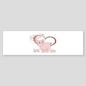 Love You, Cute Piggy Art Bumper Sticker
