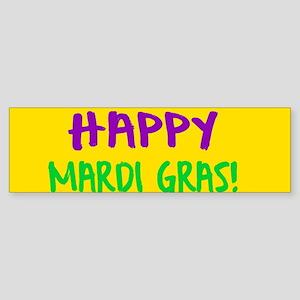 Happy Mardi Gras Crown and Beads Bumper Sticker