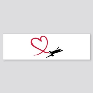 Airplane red heart Sticker (Bumper)