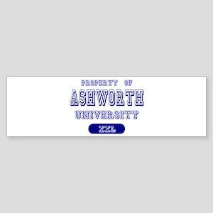Property of Ashworth University Bumper Sticker